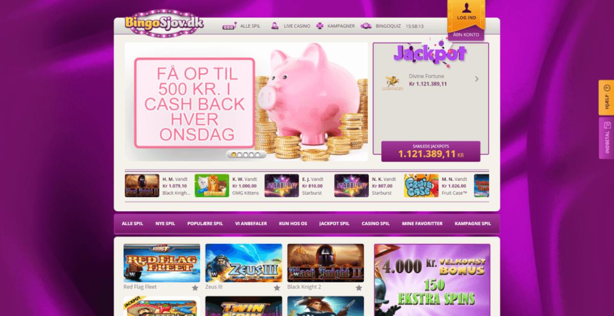 Screenshot af bingosjov's hjemmeside hvor du kan spille bingo and andre casino spil