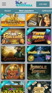 Du kan spille alle Karambas spil på din mobil eller tablet