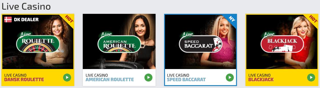 Du kan også spille live casino som f.eks. blackjack, roulette m.m. hos spilnu.dk