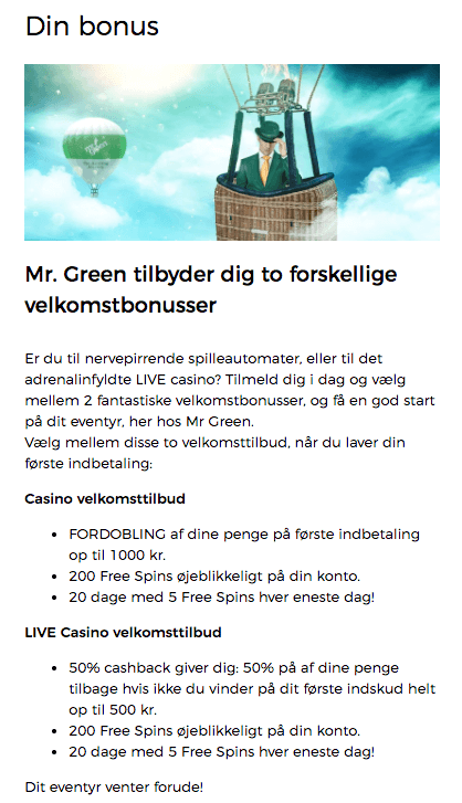 mr green bonuskode