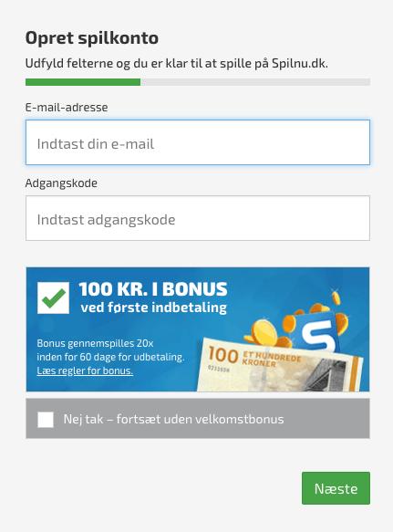 Opret din bruger hos Spilnu.dk med vores store bonuskode
