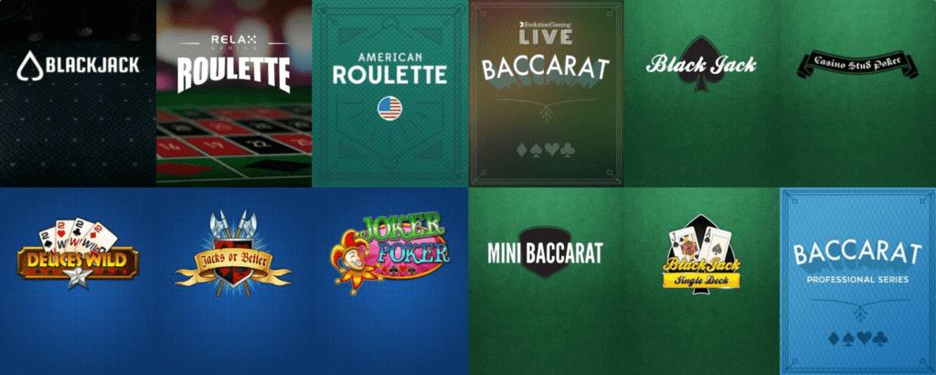 Stort udvalg af bordspil såsom blackjack, roulette og baccarat